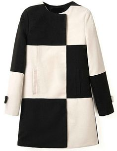 Black White Plaid Long Sleeve Woolen Coat