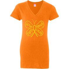 Childhood Cancer Butterfly Jr. V-Neck Fashion Shirts #ChildhoodCancer #ButterflyRibbonShirts #ChildhoodCancerAwareness
