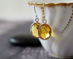 Citrine Quartz Earrings Rose Gold Earrings Golden by MsBsDesigns