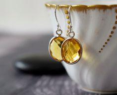 Citrine Quartz Earrings Rose Gold Earrings Golden Chalcedony Yellow Earrings Silver Bezel Sterling Silver November Birthstone Holiday Gift
