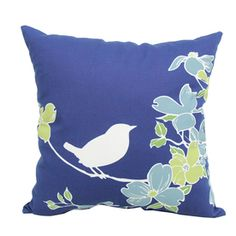 Garden Treasures Blue Multi UV-Protected Square Outdoor Decorative Pillow