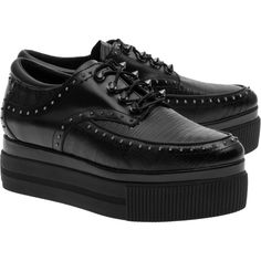 ASH K Bis Tejus Donez Black // Studded leather creepers ($395) ❤ liked on Polyvore featuring shoes, pointed shoes, creeper platform shoes, leather shoes, animal print shoes and black creeper shoes