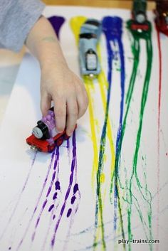 Transportation week- painting with Toy Trains on Canvas, Now with Extra Pretend Play @ Play Trains! Transportation Theme Preschool, Preschool Themes, Preschool Lessons, Preschool Crafts, Trains Preschool, Preschool Centers, Train Activities, Art Activities, Toddler Activities