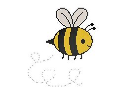 Welcome to Crafty Little Bees Cross Stitch Patterns Free Easy, Unicorn Cross Stitch Pattern, Cross Stitch Designs, Kawaii Cross Stitch, Cute Cross Stitch, Cross Stitching, Cross Stitch Embroidery, Baby Bumble Bee, Bumble Bee Nursery
