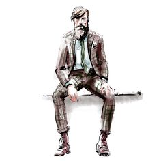 Brown window pane suit - menswear illustration by Hilbrand Bos