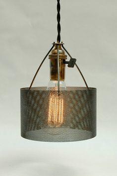 Industrial Perforated Metal Drum Lamp Shade Number 2 $30