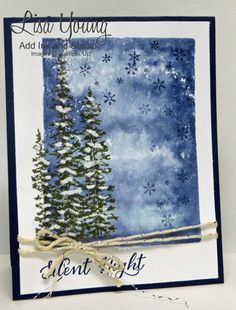Stampin' Up! Wonderland stamp set. Pine Trees Christmas card. Handmade card by Lisa Young, Add Ink and Stamp