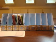 """Magazine "" files downsized into ""card files"" -What a great way to store your completed cards!"