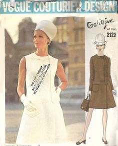 "Vintage 1960's Vogue Couturier Galitzine  Wrapped-Skirt Dress Bust 34"" (G) #VogueCouturier"