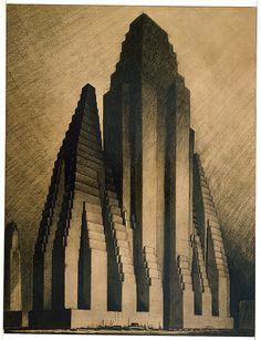 Drawing, Study for Maximum Mass Permitted by the 1916 New York Zoning Law, Stage 3, 1922