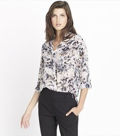 With open neckline, high-low hem and transparent body, this floral blouse  is nothing short of perfect