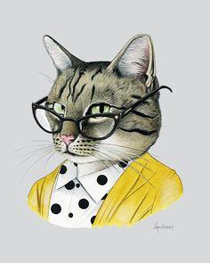 Tabby Cat art print - Modern kid art - Pet Portrait - Animals in Clothes - Animal Art - Modern Decor - Ryan Berkley Illustration 11x14: