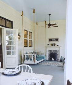 The Back Porch Paint Colors:  Porch Ceiling: Benjamin Moore Clear Skies 2054-70   Porch Floor:    Benjamin Moore Duxbury Gray HC-163