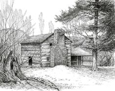 Walker Sisters' Farm House Drawing by Bob George Barn Drawing, House Drawing, Line Drawing, Drawing Ideas, Deer Drawing, Pencil Art Drawings, Beautiful Pencil Drawings, Realistic Drawings, Landscape Drawings