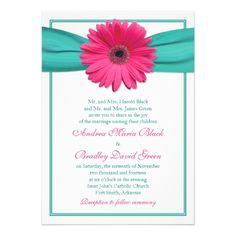 Pink Gerbera Daisy Turquoise Wedding Invitation