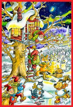 2012 Gnomes, School, Christmas, Painting, French, Teaching, Preschool, Xmas Cards, Advent Calenders