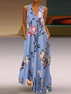 Shopping Deep V-neck sleeveless printed a-line pocket maxi dress online with high-quality and best prices Maxi Dresses at Luvyle. Floryday Vestidos, Boho Floral Dress, Vestidos Vintage, Hippie Dresses, Chiffon Maxi, Plus Size Maxi Dresses, Casual Dresses, Mode Outfits, Summer Maxi Dresses