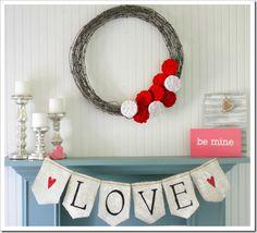Beautiful Valentine's Mantel & banner from @Gina Gab Solórzano Gab Solórzano @ Shabby Creek Cottage - always so crisp & fresh!