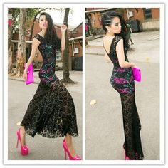 Aliexpress.com : Buy Free Shipping 2013 Summer Women Lace Dress ,Sexy Perspectivity Backless Fish Tail Flower Black Lace Maxi dress from Reliable mini dress suppliers on ChinaGifts. $29.90