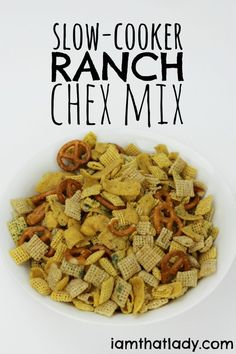 Slow-Cooker RANCH Chex Mix - OMG - it is SO good! This is our favorite after school snack, it's super easy to make and the kids love it! AD @HVRanch