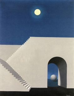 René Magritte (Belgian, 1898-1967), Architecture au clair de lune. Oil on canvas, 65 x 50 cm.