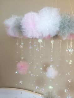 Pink and grey crystal baby mobile pom pom mobile princess baby mobile princess decor baby mobile baby girl mobile mobile with letter Girl Nursery, Girl Room, Nursery Ideas, Project Nursery, Room Ideas, Baby Mädchen Mobile, Mobile Mobile, Pom Pom Mobile, Baby Girl Shower Themes