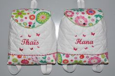 Jumeaux jumelles Duo Sacs Sac à dos enfant papillons brodées en fuchsia personnalisés au prénom : Sacs à dos, cartables par lbm-creation