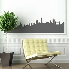 London Skyline Silhouette Wall Sticker  #london #skyline #batchelorpad #homeinteriors #home #interiors #giftsforhim