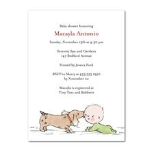 Puppy Kisses Baby Shower Invitations