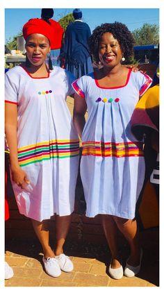 Sotho Traditional Dresses, Pedi Traditional Attire, South African Traditional Dresses, Traditional Outfits, Traditional Fashion, Short African Dresses, African Print Dresses, Kitenge, Shweshwe Dresses