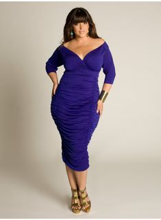Ambrosia Dress in Royal.  Love the cut, plunge neck and the considerations to showcase this body type.