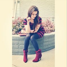 """Another lovely picture of #fashionblogger @Shelly Figueroa Stuckman in our """"Wine and Dine Burgundy Booties""""! #ootd"""