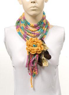 Long Scarf. Crochet Scarf. Colorful. Crochet belt. by CROCHETTT, $25.00