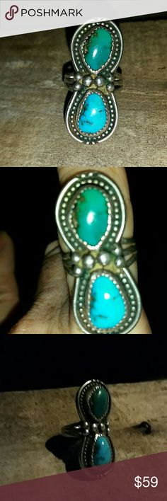 Native American Sterling Silver Turquoise Ring S 7 Two authentic turquoise stone set in sterling silver all handcrafted Native American Indian ring. Old Pawn Native American Jewelry Rings