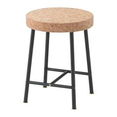 IKEA - SINNERLIG, Stool, Cork is a soft, dirt-repellent natural material that dampens sound and is resistant to water.Cork is a natural material giving variations in colour and appearance.