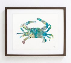 Items similar to Blue Crab Art Watercolor Painting - Archival Print - Atlantic Blue Crab Print - Teal, Blue and Gray Crab Silhouette Art, Sea, Nature on Etsy Crab Art, Fish Art, Watercolor Print, Watercolor Paintings, Map Painting, Watercolor Effects, Art D'ours, Sea Life Art, Animal Art Prints