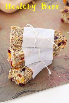 Healthy Snack Bars 8 oz unsweetened applesauce 1 cup dried fruit (I used half cranberries, half apricots) 1/3 cup sunflower seeds 1/4 cup hemp seeds 1 cup rolled oats 2/3 cup unsweetened dessicated coconut 1/3 cup chia seeds 1/4 cup flaxseed meal + 1/2 cup water