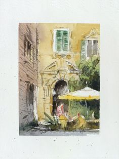 Macerata Le Marche Italy Urban sketch ink and watercolor on | Etsy Beautiful Artwork, Cool Artwork, Ink Painting, Watercolor Paintings, Drawing Art, Art Drawings, Sketch Ink, Paper Dimensions, Urban Sketching