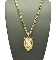 Gold king crown lion head leo #animal pendant #charm #chain necklace mens…