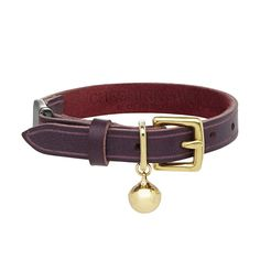 Burgundy Purple Leather Cat Collar with safety clip by Cheshire & Wain
