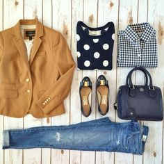 Simple print mixing casual and classy outfit: camel schoolboy blazer, skinny denim jeans, polka dot sweater, gingham shirt, bow pumps, mini leather tote // StylishPetite.com