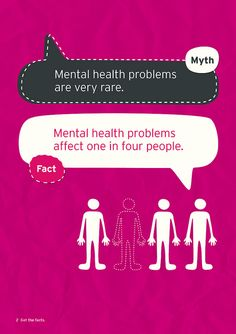 Myth: Mental health problems are very rare. Fact: Mental health problems affect one in four people.