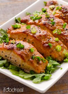 Peanut Butter & Miso Glazed Salmon - fillets of salmon marinated in marinade of PB, white miso paste and freshly grated ginger, then baked.
