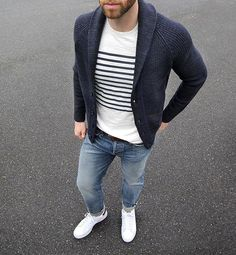 50 degrees and rainy. Spring where are you?  #rainday  Shirt: @grayers Breton Stripe Crewneck Denim: @baldwin Henley Fit Selvedge Cardigan: @bananarepublic Shoes: @adidasoriginal Stan Smith Belt: @jcrew