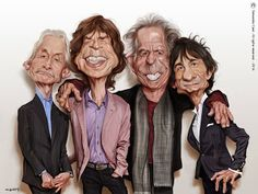 The Rolling Stones - Mick Jagger, Keith Richards, Charlie Watts & Ronnie Wood by Sebastian Cast Funny Caricatures, Celebrity Caricatures, Celebrity Drawings, The Rolling Stones, Charlie Watts, Caricature Drawing, Wow Art, Keith Richards, Cultura Pop