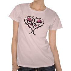 art nouveau heart_pink flora t shirts #vintage #retro #artnouveau