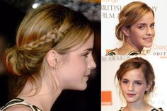 Emma Watson - Best Celebrity Updos, hair, up do, updo, formal, party, wedding, hair, inspiration, ideas, beauty, hairstyles, Marie Claire