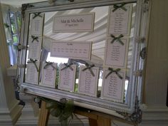 Framed mirror wedding table plan.