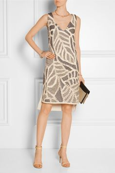 This dress from ethical clothiers Maiyet is interesting -- the solid bits are knitted, but then all of those jagged shapes are pieced together via crocheted edging.
