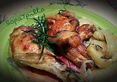 Pollo horneado al romero